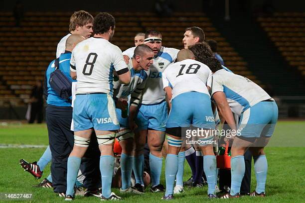 Argentinian players in action during a rugby test match between Argentina Pumas and France at Mario Alberto Kempes stadium on June 16 2012 in Cordoba...