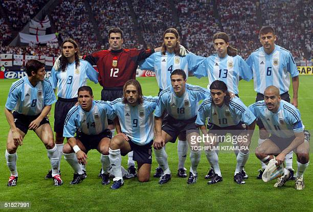 Argentinian players pose for photographers before the Group F first round match Argentina/England of the 2002 FIFA World Cup in Korea and Japan 07...
