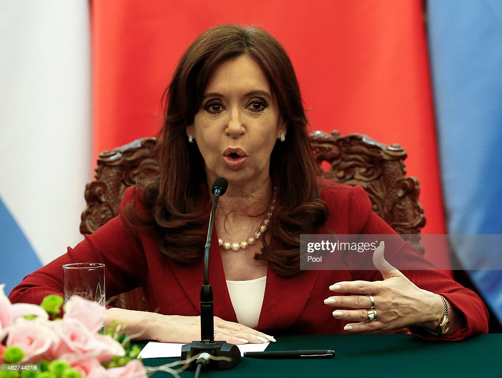 Argentinian President Cristina Fernandez de Kirchner delivers a statement during a signing ceremony with Chinese President Xi Jinping (not in photo) at the Great Hall of the People on February 4, 2015 in Beijing, China,. The Argentinian leader is on an official visit and is expected to meet with Chinese counterparts to boost bilateral ties.