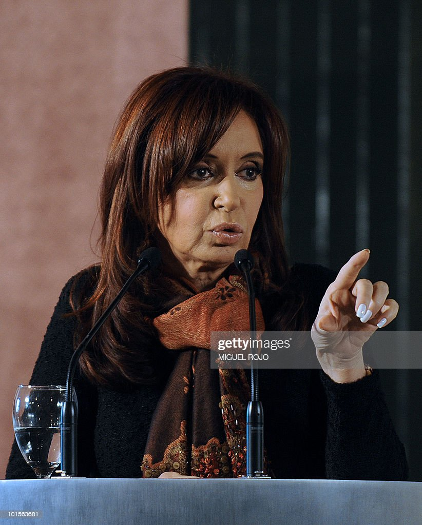 Argentinian President Cristina Fernandez de Kirchner speaks during a press conference after a meeting with her Uruguayan counterpart Jose Mujica (not in frame), at the Anchorena presidential residence, in Colonia, 180 km west of Montevideo, on June 2, 2010. AFP PHOTO/Miguel ROJO