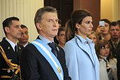 Argentinian President Mauricio Macri and First Lady Juliana Awada attend a ceremony at the cathedral in Tucuman Argentina on July 9 during the...