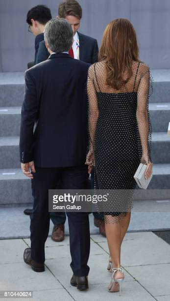 Argentinian President Mauricio Macri and First Lady Juliana Awada attend a reception outside the Elbphilharmonie philharmonic concert hall on the...
