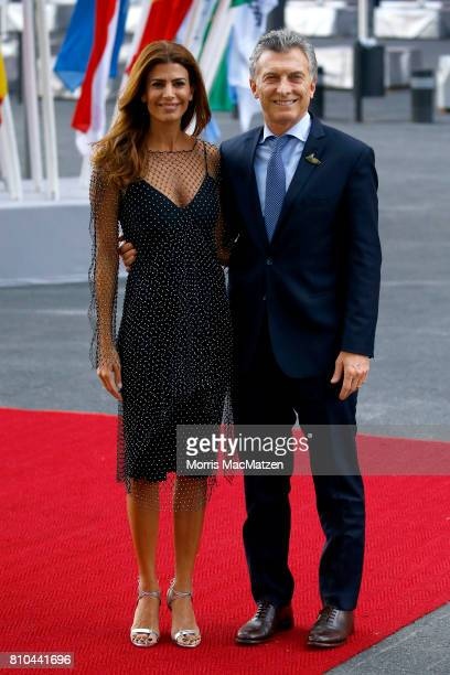 Argentinian President Mauricio Macri and First Lady Juliana Awada arrive to attend a concert at the Elbphilharmonie philharmonic concert hall on the...