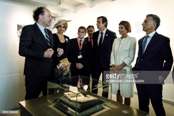 Argentinian president Mauricio Macri and his wife Juliana Awada visit the Anne Frank House with Queen Maxima of the Netherlands during a state visit...