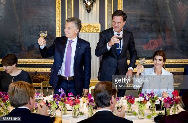Argentinian president Mauricio Macri Netherlands Prime Minister Mark Rutte and Argentinian First Lady Juliana Awadaare pictured during a lunch in The...