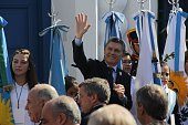 Argentinian President Mauricio Macri waves during the commemoration of the bicentenary of the Argentinian Independence in Tucuman Argentina on July 9...