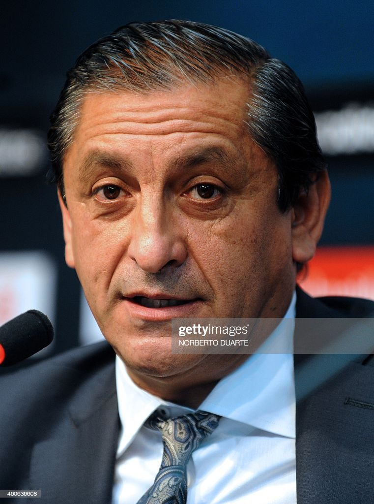 Argentinian <a gi-track='captionPersonalityLinkClicked' href=/galleries/search?phrase=Ramon+Diaz&family=editorial&specificpeople=2607555 ng-click='$event.stopPropagation()'>Ramon Diaz</a> who was named as coach of Paraguay's football national team gives a press conference in Asuncion, Paraguay on December 18, 2014. Diaz, 55-year-old is the most successful coach in the history of Argentine giants River Plate, he has also coached Argentine giants San Lorenzo and Independiente, as well as Mexicans America and somewhat curiously, and briefly, Oxford United in England. AFP PHOTO / Norberto DUARTE