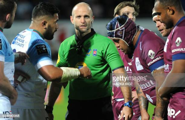 Argentinian referee Juan Sylvestre looks on during the French Top 14 rugby union match Aviron Bayonnais vs UBB BordeauxBegles at the JeanDauger...