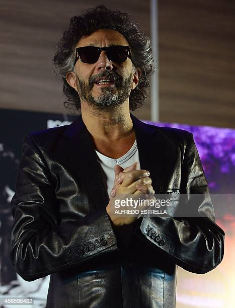 Argentinian singer Fito Paez gestures before a press conference to present his new work 'Rock and Roll Revolution' a tribute to Argentinian musician...