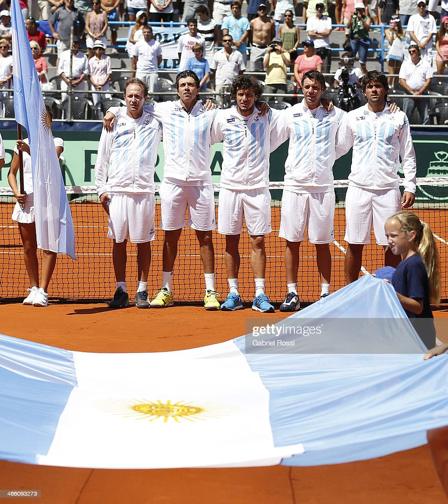 Argentinian tennis coach Martin Jaite and his players Carlos Berlocq, Juan Monaco, Horacio Ceballos and Eduardo Schwank pose before a match between Argentina and Italy as part of the Davis Cup at Patinodromo Stadium on January 31, 2014 in Mar del Plata, Argentina.