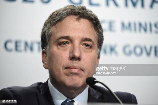 Argentinian Treasury Minister Nicolas Dujovne gives a press conference at the World Bank and International Monetary Fund annual meetings in...