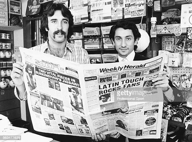 Argentinian Wotld Cup winning football players Osvaldo Ardiles and Ricardo Villa pose together with a local newspaper after signing for Tottenham...
