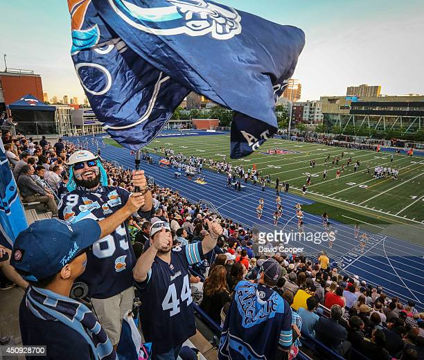 Argo fans cheer for their team from the top of the stands at Varsity Stadium as the Toronto Argonauts host the Hamilton Tigercats in their final...