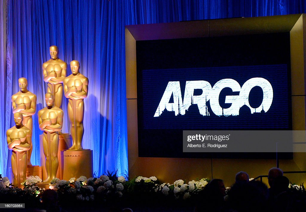 'Argo' signage and the Oscar statuette are displayed at the 85th Academy Awards Nominations Luncheon at The Beverly Hilton Hotel on February 4, 2013 in Beverly Hills, California.