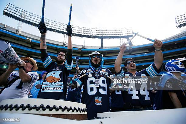 TORONTO ON AUGUST 23 Argos fans during the 1st half of CFL action as the Toronto Argonauts take on the Ottawa RedBlacks at Rogers Centre on August 23...