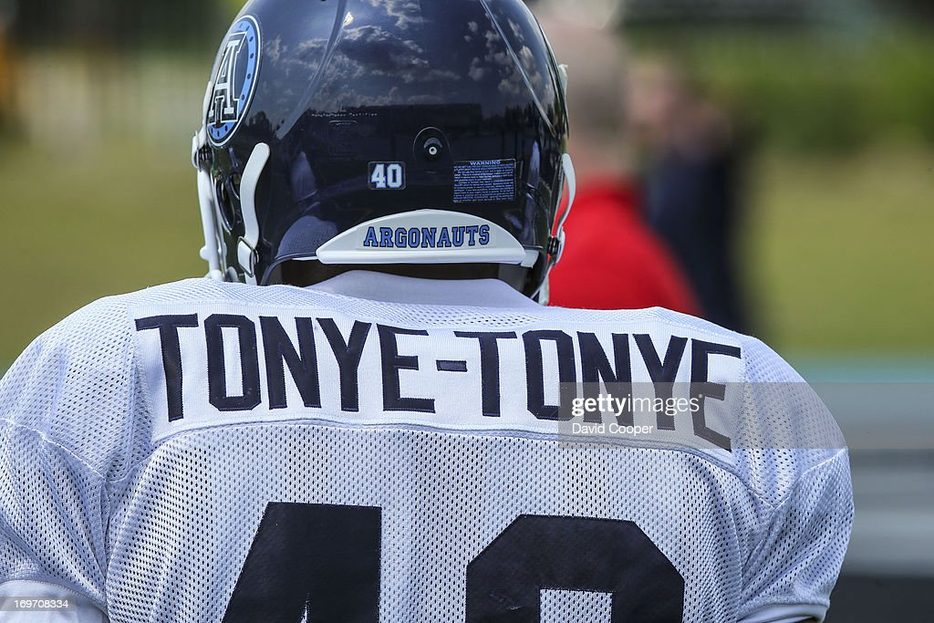 Argos Linebacker Herve Tonye-Tonye (40) waits his turn on the sidelines during the 2nd day of Argos rookie camp at St. Thomas Aquinas High School field.