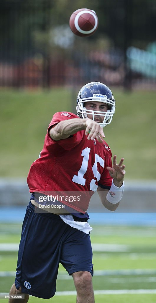 Argos Quarterback Ricky Ray (15) makes a pass during the 2nd day of Argos rookie camp at St. Thomas Aquinas High School field.