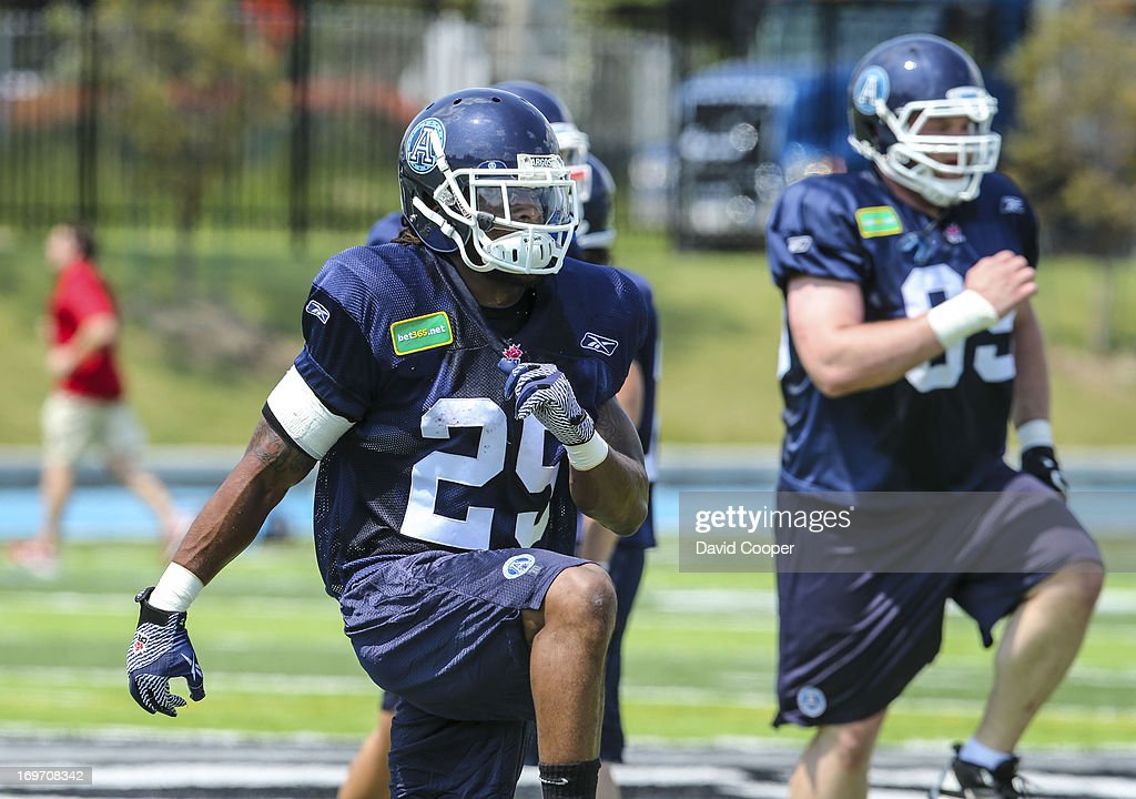 Argos Runningback Curtis Steele (29) does drills during the 2nd day of Argos rookie camp at St. Thomas Aquinas High School field.