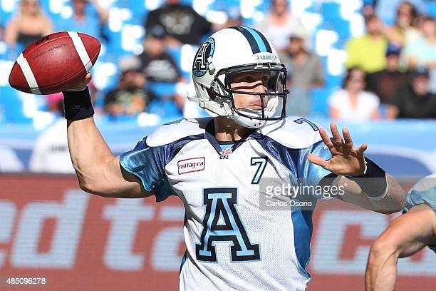 TORONTO ON AUGUST 23 Argos Trevor Harris during the 1st half of CFL action as the Toronto Argonauts take on the Ottawa RedBlacks at Rogers Centre on...