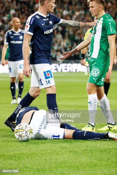 Argument between Eric Smith of IFK Norrkoping and Oscar Krusnell of Hammarby IF after tackle by Oscar Krusnell of Hammarby IF during the Allsvenskan...