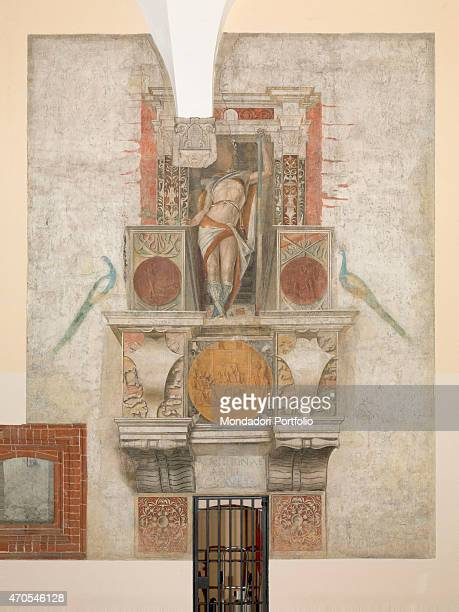 'Argus by Bramantino c 1490 15th Century fresco Italy Lombardy Milan Sforza Castle Whole artwork view The fresco depicts Argus inside a fake niche...