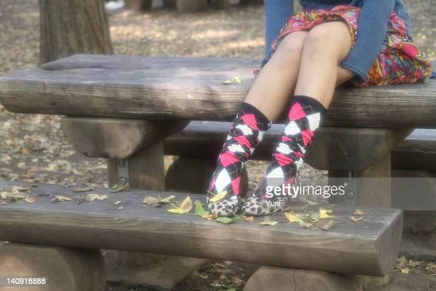 Argyle socks on girl legs