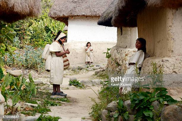 Arhuaco women seen in the village on January 23 2015 in Nabusimake Colombia Nabusimake is the spiritual center of the Arhuaco indigenous people and...