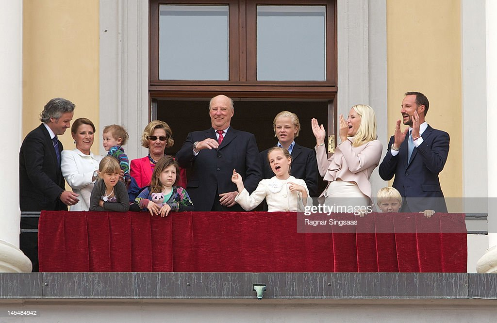 Ari Behn, Princess Martha Louise of Norway, Maud Angelica Behn, Emma Tallulah Behn, Leah Isadora Behn, Queen Sonja of Norway, King Harald V of Norway, Princess Ingrid Alexandra of Norway, Marius Borg Hoiby, Princess Mette-Marit of Norway, Prince Sverre Magnus of Norway and Prince Haakon of Norway celebrate King Harald V and Queen Sonja of Norway's 75th birthdays on May 31, 2012 in Oslo, Norway.