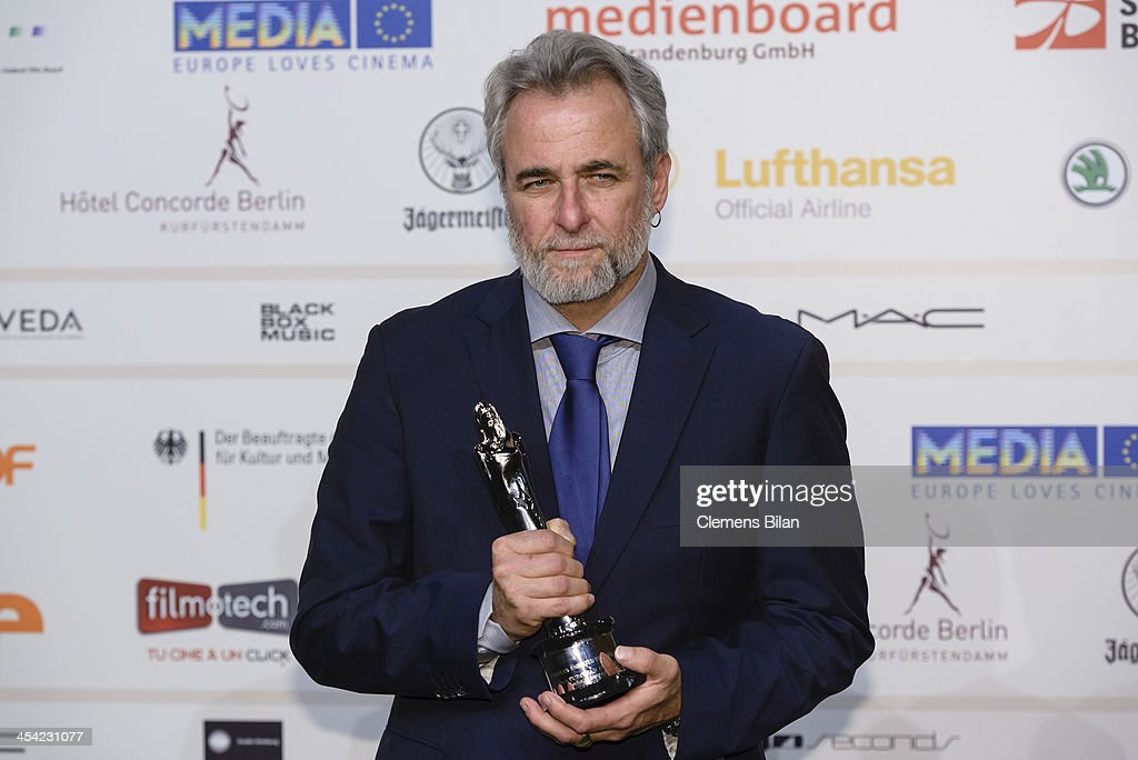 Ari Folman poses with his award for European Animated Movie 2013 at the European Film Awards 2013 on December 7, 2013 in Berlin, Germany.