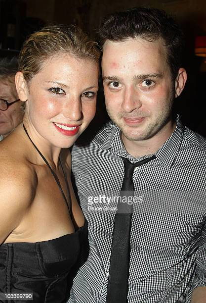 Ari Graynor and Eddie Kay Thomas pose at the 'Trust' OffBroadway opening night after party at Trattoria Dopo Teatro on August 12 2010 in New York City