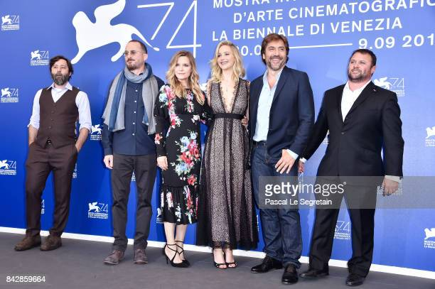 Ari Handel Darren Aronofsky Michelle Pfeiffer Jennifer Lawrence Javier Bardem and Scott Franklin attend the 'mother' photocall during the 74th Venice...