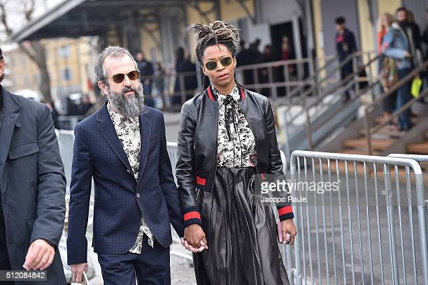 Ari Marcopoulos and Kara Walker arrive at the Gucci show during Milan Fashion Week Fall/Winter 2016/17 on February 24 2016 in Milan Italy