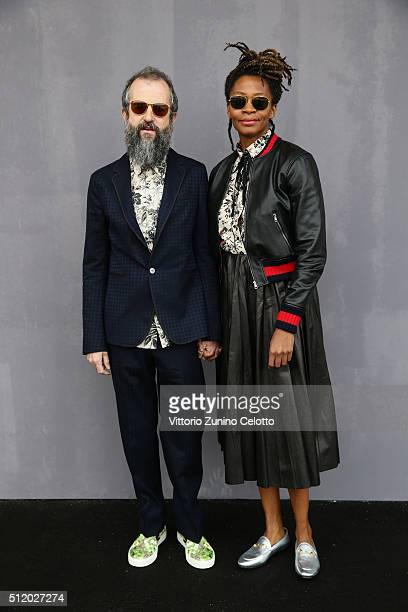 Ari Marcopoulos and Kara Walker attend the Gucci show during Milan Fashion Week Fall/Winter 2016/17 on February 24 2016 in Milan Italy