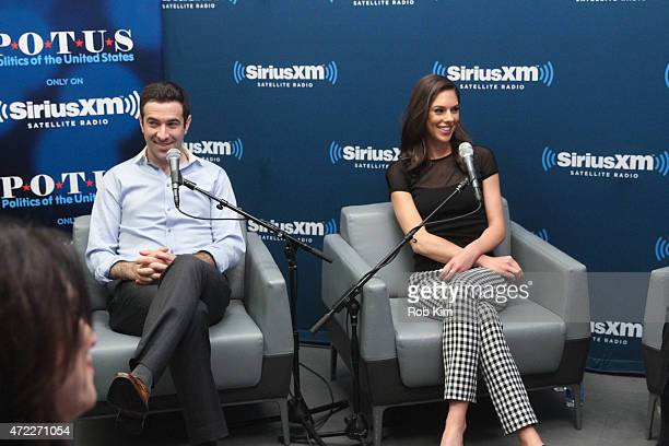 Ari Melber and Abby Huntsman attend a special edition of SiriusXM's No Labels Radio airing on SiriusXM POTUS at SiriusXM Studios on May 5 2015 in New...
