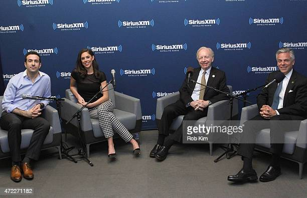 Ari Melber and Abby Huntsman of MSNBC with cohosts Jon Huntsman and Joe Lieberman attend a special edition of SiriusXM's No Labels Radio airing on...