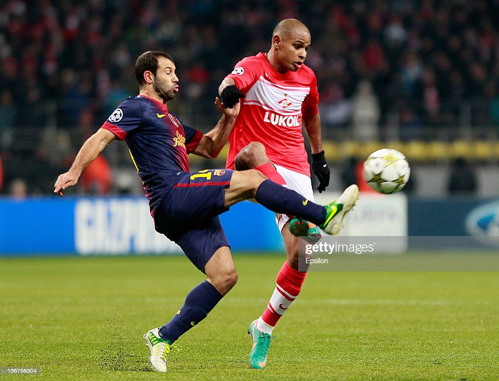 Ari (R) of FC Spartak Moscow battles for the ball with <a gi-track='captionPersonalityLinkClicked' href=/galleries/search?phrase=Javier+Mascherano&family=editorial&specificpeople=490876 ng-click='$event.stopPropagation()'>Javier Mascherano</a> of FC Barcelona during the UEFA Champions League group G match between FC Spartak Moscow and FC Barcelona at the Luzhniki Stadium on November 20, 2012 in Moscow, Russia.