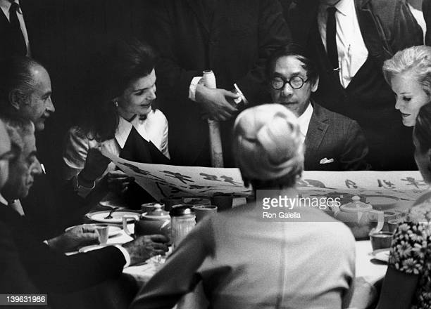 Ari Onassis Jacqueline Onassis IM Pei and Doris Duke sighted on February 19 1969 at Szechuan Restaurant in New York City