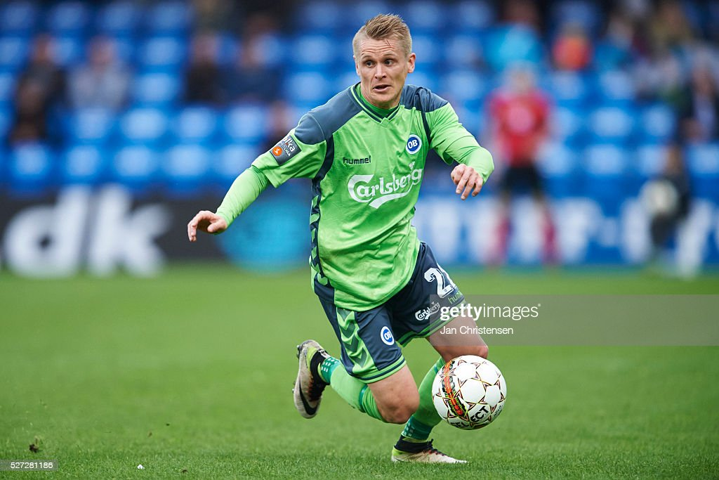 Ari Skulason of OB Odense controls the ball during the Danish Alka Superliga match between Esbjerg fB and OB Odense at Blue Water Arena on May 02, 2016 in Esbjerg, Denmark.