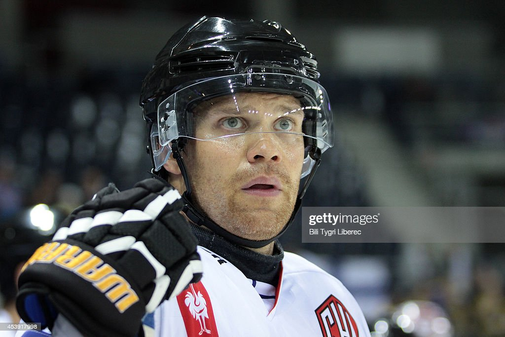 Ari Vallin of Karpat Oulu watches the game during the Champions Hockey League group stage game between Bili Tygri Liberec and Karpat Oulu on August 21, 2014 in Liberec, Czech Republic.