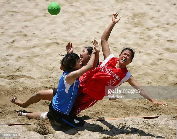 Ari Wahyuni Ni Made of Indonesia loses possession during the womens match between Indonesia and Vietnam during the Beach Handball on day five of the...