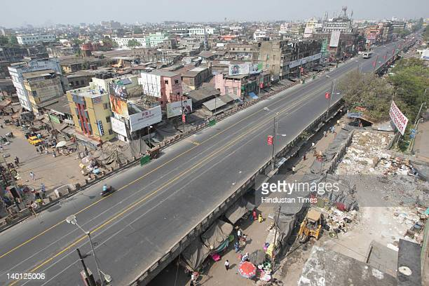 Arial view of a deserted road during the 24 hour All India strike called by 11 major trade unions on February 28 2012 in Kolkata India The strike in...