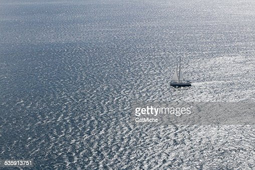 Arial view of a Sailboat : Stock Photo