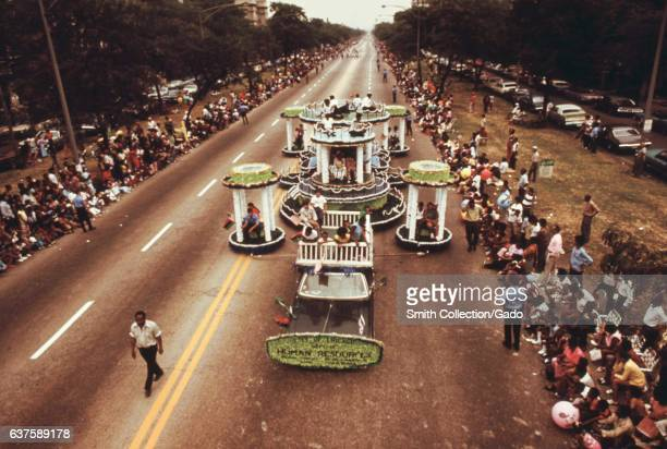 Arial view of Dr Martin L King Jr Drive during the Bud Billiken Day parade in Chicago Illinois August 1973 Image courtesy John White/US National...