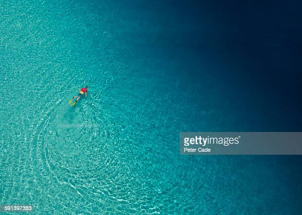 Arial view of man snorkelling