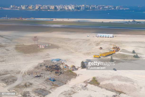 Arial View of the Airport Island Hulhule and the Construction Site of the Extension and the Mainisland Malé on February 23 2017 in Male Maldives