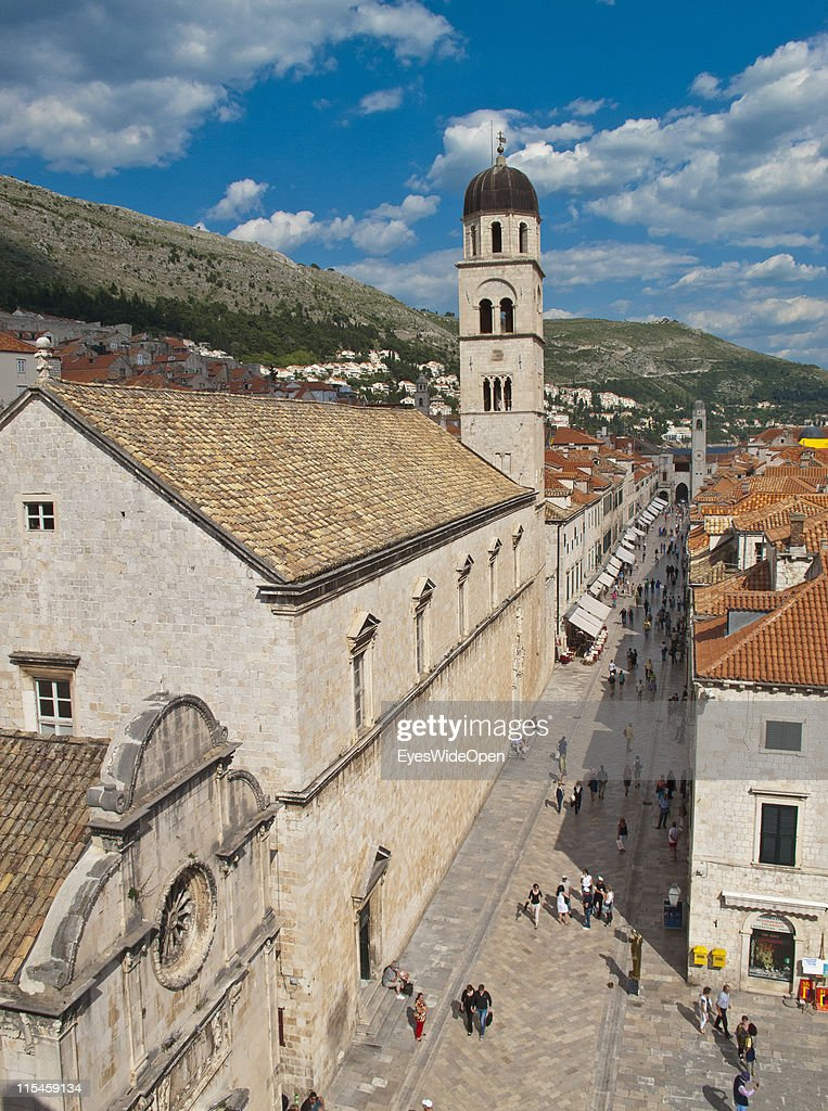 Arial view of the ancient monuments and restored buildings of the UNESCO World Heritage Site city of Dubrovnik on the Dalmatian coast of the Adriatic Sea on May 13, 2011 in Dubrovnik, Croatia. The old town is surrounded by a 1,9 km long city wall and called the Pearl of the Adriatic.