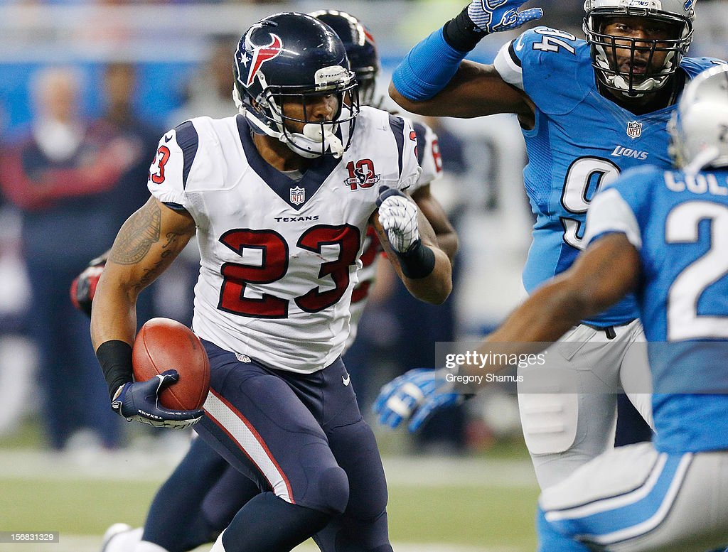 Arian Foster #23 of the Houston Texans look for running room while playing the Detroit Lions at Ford Field on November 22, 2012 in Detroit, Michigan.