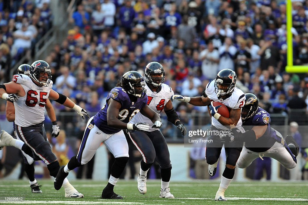 Arian Foster #23 of the Houston Texans runs the ball against the Baltimore Ravens at M&T Bank Stadium on October 16. 2011 in Baltimore, Maryland. The Ravens defeated the Texans 29-14.