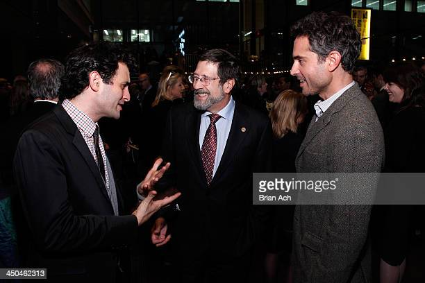 Arian Moayed Board of Director James D Steinberg and Omar Metwally attend The 2013 Steinberg Playwright 'Mimi' Awards presented by The Harold and...