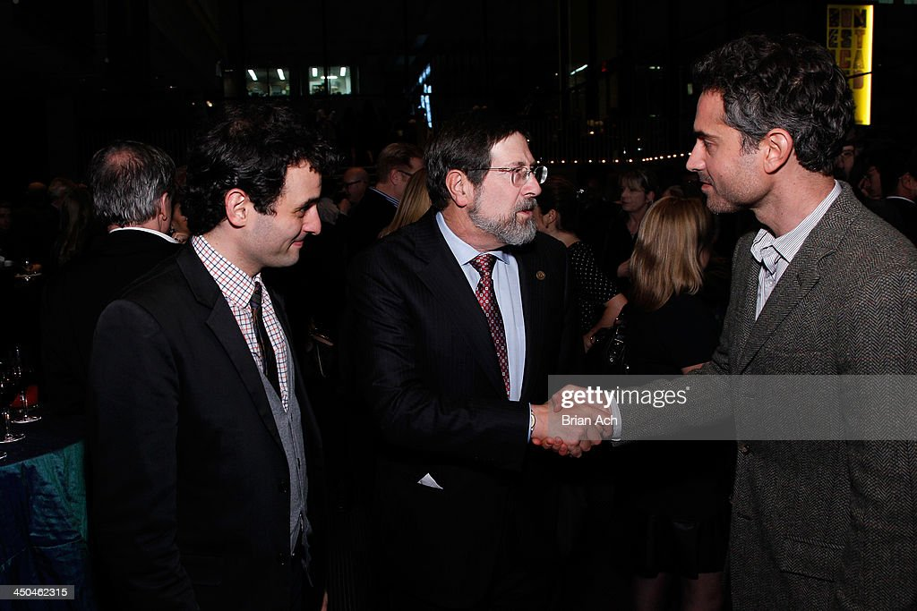Arian Moayed, Board of Director James D. Steinberg and Omar Metwally attend The 2013 Steinberg Playwright 'Mimi' Awards presented by The Harold and Mimi Steinberg Charitable Trust at Lincoln Center Theater on November 18, 2013 in New York City.